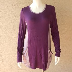Purple Color Block 2 Pocket Tunic NWOT